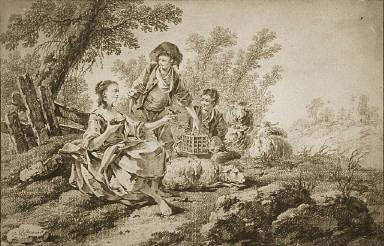 [Pastoral Scene, Shepherds and Shepherdess]
