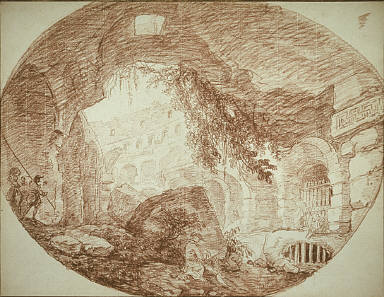 [An Artist Seated in the Ruins of the Colosseum, An Artist Sketching in the Colosseum in Rome, A Draughtsman Seated Among the Ruins of an Ampitheater]