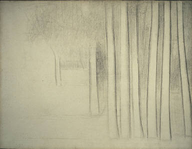 [Tree Trunks, Study of Trees, Etude d'Arbres, Final Published Work: Sunday Afternoon on the Island of La Grande Jatte, 1884-1886 AIC, Troncs d'arbres]