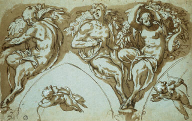 Study for Spandrel Decoration with Satyress, Satyrs, and Putti
