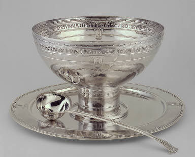 Punch Bowl, Ladle, and Tray