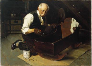 Grandpa's Gift (Grandfather Varnishing the Cradle)