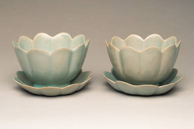 Two Foliate Bowl-and-Saucer Sets