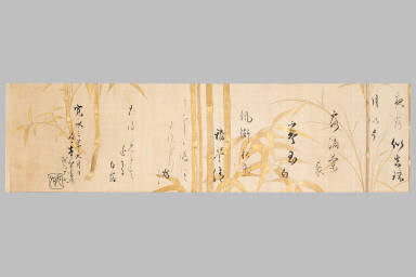 Poem Scroll with Selections from the Anthology of Chinese and Japanese Poems for Recitation (Wakan roei shu)