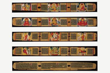 Five Leaves from an Ashtasahasrika Prajnaparamita Manuscript. Leaf A: Prajnaparamita and Scenes of the Buddha's Life, c. 1073. Leaf B: Bodhisattva Manjushri and Scenes of the Buddha's Life, c. 1073. Leaf C: Bodhisattva Avalokiteshvara and Scenes of the Buddha's Life, c. 1151. Leaf D: Tara and Scenes of the Buddha's Life, c. 1151. Leaf E: Leaf with colophon