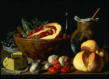 Still Life with Bread, Ham, Cheese, and Vegetables