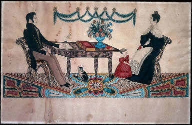Family Group with Child, Cat and Vase