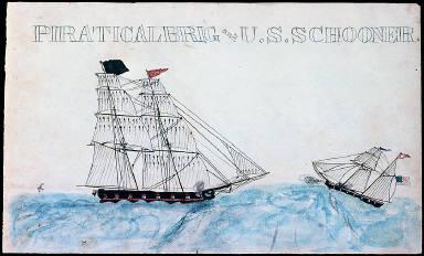 Piratical Brig and U.S. Schooner