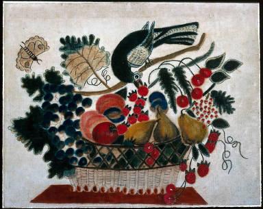 Bird Picking Strawberries from Basket of Fruit, III