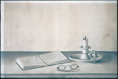 Still Life with Candle, Spectacles and Open Book