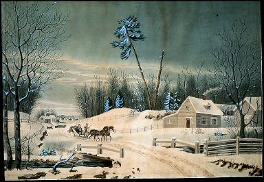 Snowy Landscape with Farmhouse and Sleigh