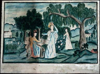 Mourning Picture with Three Young Ladies