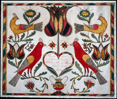Horizontal panel of birds and tulips