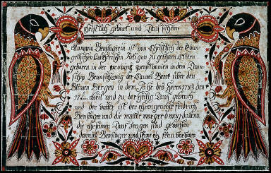 Birth and baptism certificate of Anmaria Besinger