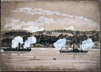 U.S. Steamers 'Galena' and 'Makaska' shelling the Rebels