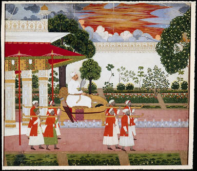 Muhammad Shah in a Palanquin with Eight Bearers in a Garden