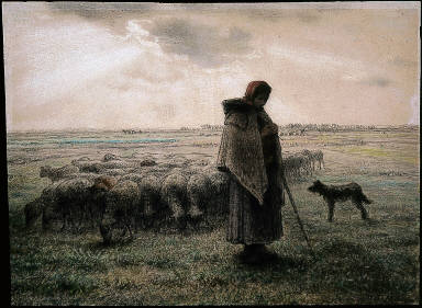 Shepherdess with her Flock and Dog