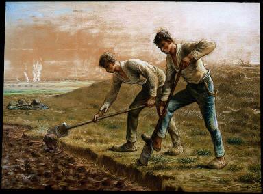 Two Men Turning over the Soil