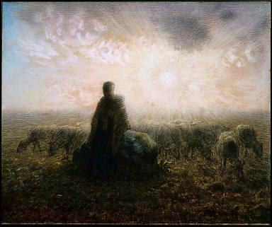 Shepherdess and Flock at Sunset