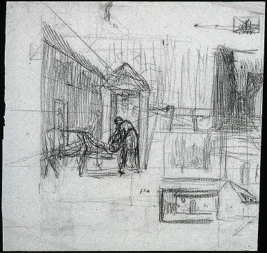 Perspective Studies (recto); Man Seated on a Bale of Grain. Study for Ha