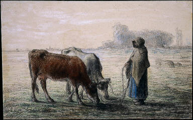 Peasant Girl with Two Cows