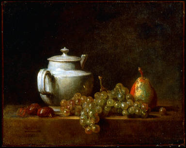 Still Life with Tea Pot, Grapes, Chestnuts, and a Pear