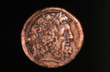 Ptolemaic coin with head of Zeus