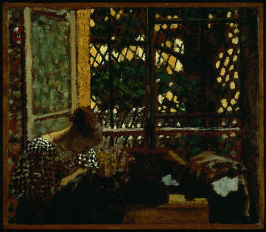 Woman Sewing before a Garden Window