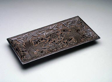 Tray with bird and flower design