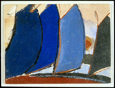 Untitled (Four blue-gray sail-like forms)