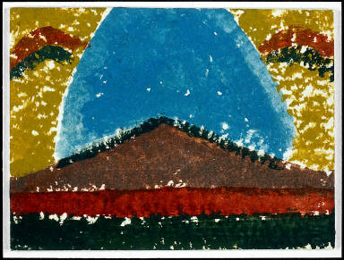 Untitled (brown pyramid below blue form)