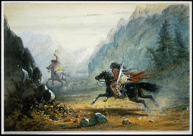 Snake Indian Pursuing a Crow Horse Thief