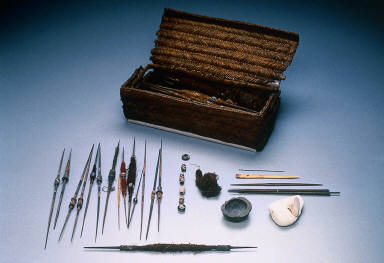 Weaver's workbasket and implements