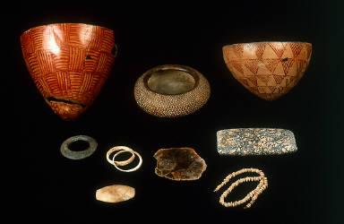 (a-c) Three bowls, (d) bracelet, (e) two of a set of four bracelets, (f) mirror, (g) palette, (h) diamond-shaped palette, (i) necklace
