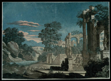 Flock of Sheep and Ruins with Statues