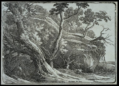 Landscape with Large Trees, a Man Seated at Left