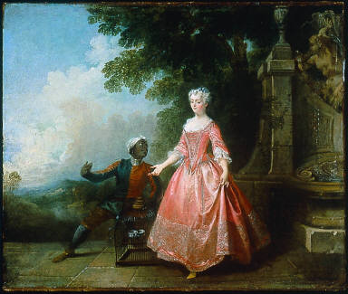 Young Woman and a Servant with an Empty Birdcage