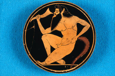 Kylix (wine cup) with Seilenos drinking