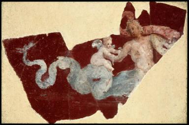 Fresco with Eros riding on Triton