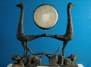 Drumstand: In the shape of two birds and two tigers