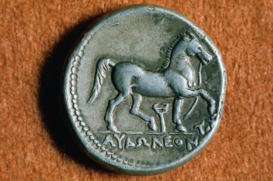 Tetradrachm of Audoleon with head of Athena