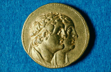 Octodrachm of Ptolemy III with Ptolemy I and Berenike I on the obverse