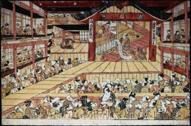 [Scene from the play Kanadehon Chushingura at the Ichimura Theater in 1740, Kanadehon Chushingura yoban tsuzuki dai-san taiga no meitö]
