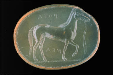 Scaraboid intaglio with race horse