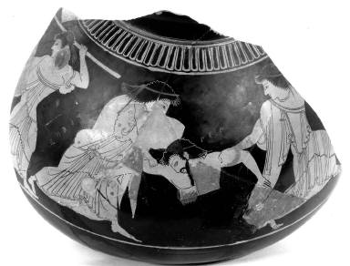 Psykter (wine cooler) with the death of Pentheus