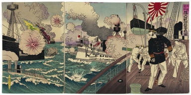 Admiral Kabayama Fights Furiously in the Great Sino-Japanese Naval Battle off Takushan (Da