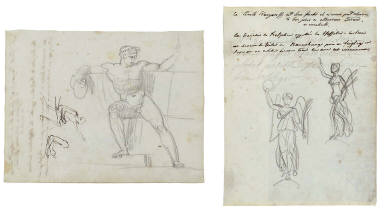 Recto: Frontal study of a seated man and two small studies of a seated man in profile; ver