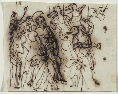 Figures facing right: a study for the left side of Achilles Swearing Revenge at the Bier o