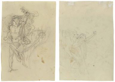 Recto: Study of a striding man [Automedon]; Verso: Slight sketch of three [?] figures