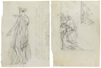 Recto: Study of a draped woman facing left; Verso: Two variant studies for the lower left